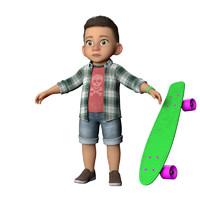 obj cute skater boy cartoon
