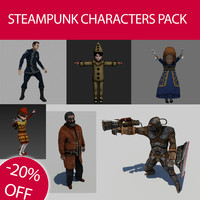 steampunk characters pack 3d model