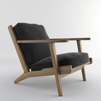 set chair wood 3d model