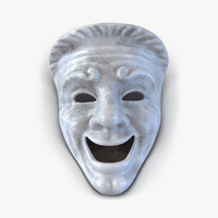 theatre comedy mask white marble 3d model