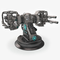 3d plasma turret sci-fi model
