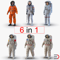 3d model rigged astronauts 2