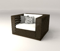 3D Model Lounge Rattan Chair