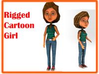 3d rigged cartoon girl model