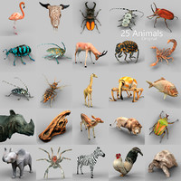 3d obj 25 animals -