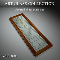 3d art glass window door