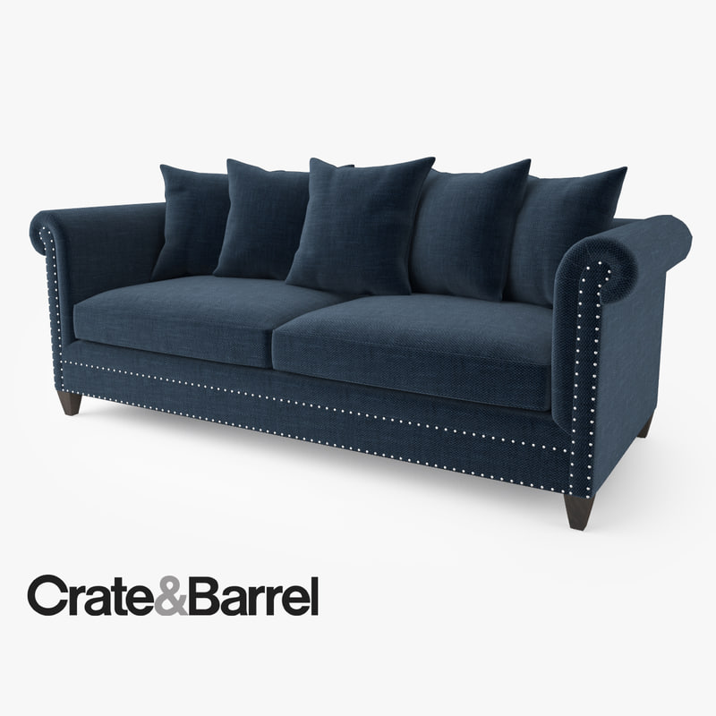 Modern living room interior 3ds max scene with all furniture 3d models - Crate Barrel Durham Sofa 3d Max