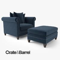 crate barrel durham chair ottoman 3d model