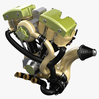 3d model of engine motor motorcycle