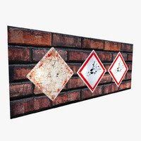3d model hazard sign -