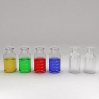 3d chemical bottles liquid model