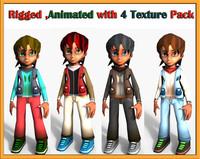 cartoon character boy 3d model