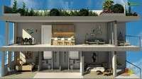 3D Section Floor Plan CGI Design
