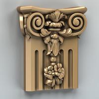 carved column capital 3d max