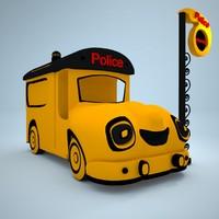 car cartoon police 3d max