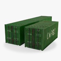 3d container 20ft 40ft model