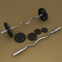 3d model of barbell bar