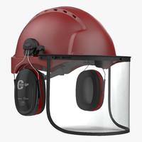 3d model safety helmet 2 red