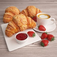 Croissant with Coffee and Strawberries