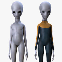 3d model grey alien rigged