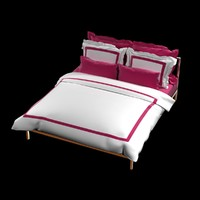 bed set hotel duvet 3d model