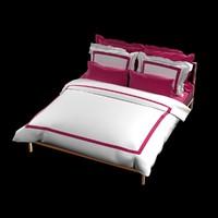 bed set hotel duvet 3d model