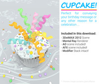 cupcake birthday celebration 3d model