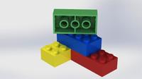 lego block 3d 3ds
