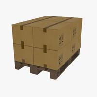 euro pallet loaded 3d model