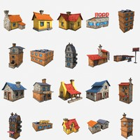 cartoon house pack 3d fbx