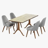 3d model of chair table mid-century dining