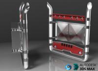 3d model pipes chromed lockers