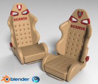 3d leather seat scania truck model