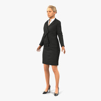 3d model business woman caucasian rigged