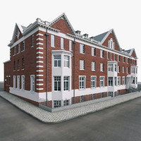 police red brick building london 3d model