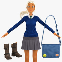 school student 4 3d model