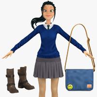 3d model school student 5