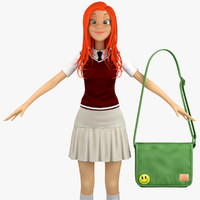 school student 3c sweater 3d model