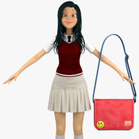 3d school student sweater vest model