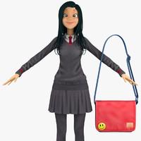 3d model school student 5b pullover