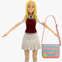 school student sweater vest 3d max