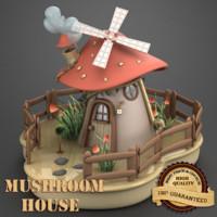 3d obj mushroom house