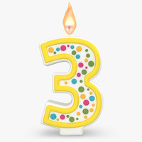 3d model realistic number candles 3