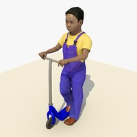 asian boy riding scooter c4d