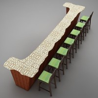 bar counter 3d max