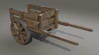 3d model wooden cart