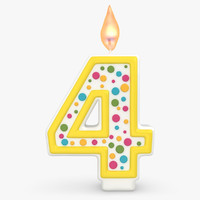 3d realistic number candles 4 model