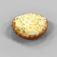 white chocolate flake pie 3d obj