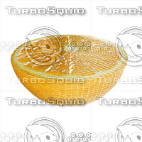 3d fruit half orange