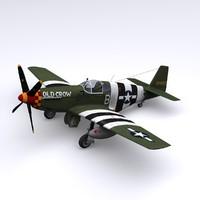 3d model p-51 mustang fighter p-51c